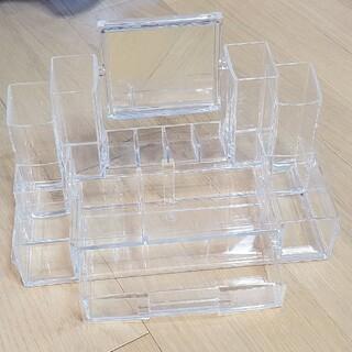ムジルシリョウヒン(MUJI (無印良品))の大容量 メイクボックス コスメボックス 化粧品ボックス ミラー 鏡 クリア 透明(メイクボックス)