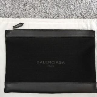 Balenciaga - (美品)BALENCIAGAキャンバスレザークラッチバッグ ブラック Msize