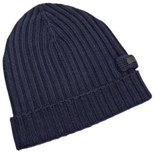 プラダ(PRADA)の新品プラダPRADAウール100%ニット帽子ビーニー男女兼用 濃紺BLEU(ニット帽/ビーニー)