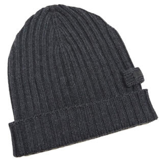 プラダ(PRADA)の新品プラダPRADAウールニット帽子ビーニー男女兼用チャコールグレー(ニット帽/ビーニー)