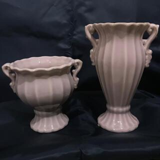 Francfranc - アンティークピンク✴︎陶器の花器 オブジェ置物メイクスタンド花瓶フラワースタンド