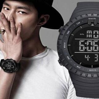 ■2020新入荷!■ダイバーズウォッチブラックフェイス 50M防水(腕時計(デジタル))