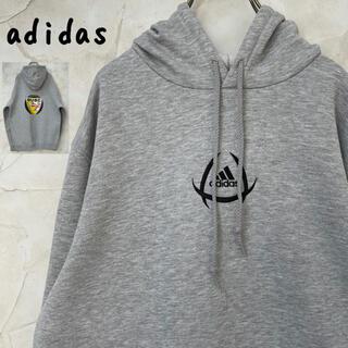アディダス(adidas)の【アディダス】90sヴィンテージパーカー 刺繍ロゴ バックプリント グレー(パーカー)