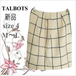 タルボット(TALBOTS)の新品タグ付き【タルボット】アイボリーチェック柄ウール混セミタイトスカート*M~L(ひざ丈スカート)