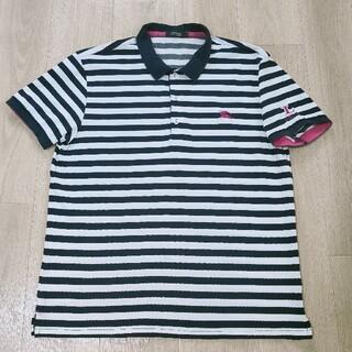 バーバリーブラックレーベル(BURBERRY BLACK LABEL)の美品!!4(LL)白×ネイビーボーダー総柄 鹿の子編み 半袖ポロシャツ Burb(ポロシャツ)