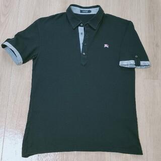 バーバリーブラックレーベル(BURBERRY BLACK LABEL)の美品!!3(L)黒 前立て/袖先ストライブ柄 半袖ポロシャツ Burberry (ポロシャツ)