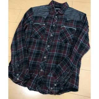 クロムハーツ(Chrome Hearts)のクロムハーツ ダブルジップ フレア 切り替え チェックシャツ メンズ(シャツ)