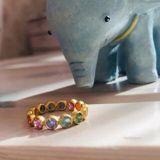 ドゥロワー(Drawer)のマリーエレーヌドゥタイヤック  レインボーボリウッドリング 虹7石 新品同様(リング(指輪))