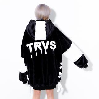 フーガ(FUGA)のTRAVAS TOKYO バックロゴオーバーサイズフェイクファーパーカー コート(毛皮/ファーコート)
