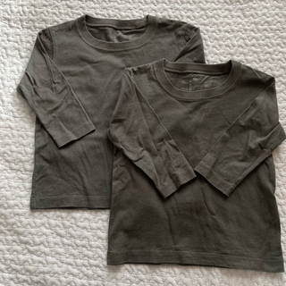 MUJI (無印良品) - インド綿天竺編み長袖Tシャツベビー80・チャコールグレー