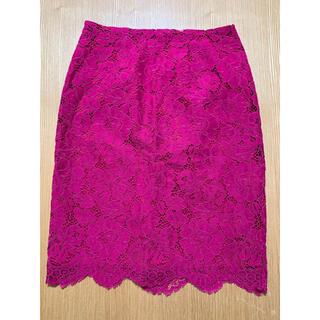 ナチュラルビューティーベーシック(NATURAL BEAUTY BASIC)のnatural beauty basic ピンクレーススカート(ひざ丈スカート)