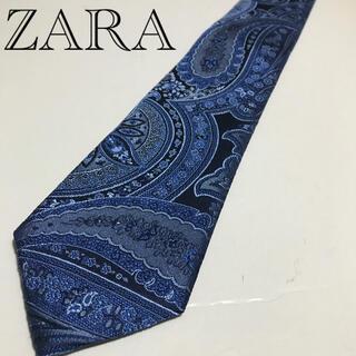 ザラ(ZARA)の【値下げ美品】ZARA ネクタイ ダークブルー総柄(ネクタイ)