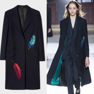 ポールスミス(Paul Smith)のロンドン購入 ポールスミス 17AW パリ・コレクション フェザー刺繍コート(チェスターコート)