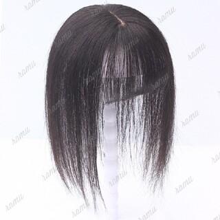 【新品】人毛100% 部分ウィッグ ヘアピース 白髪かくし ナチュラル①(ショートストレート)