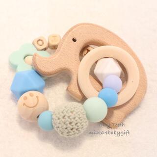 【歯固めジュエリー】歯固めブレスレット♡ブルー×ミント(外出用品)