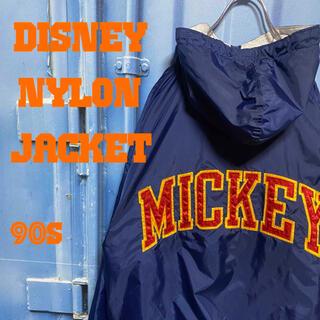 ディズニー(Disney)のミッキー 超希少 90s デカロゴ ビッグシルエット 内側デザイン 刺繍ロゴ(ナイロンジャケット)