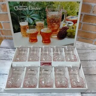 トウヨウササキガラス(東洋佐々木ガラス)の未使用品 東洋ガラス シャンゼリゼタンブラー 10個 ピンクグラス 昭和レトロ(グラス/カップ)