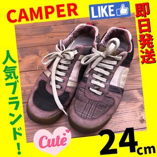 カンペール(CAMPER)のカンペール レディース スニーカー 靴 24cm  お洒落 茶系(スニーカー)