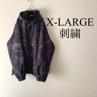 エクストララージ(XLARGE)の美品 エクストララージ 奇抜 刺繍ロゴ ナイロンジャケット(ナイロンジャケット)
