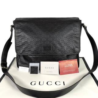 グッチ(Gucci)の超美品 GUCCI メッセンジャーバッグ GG シマ A4収納可 フル レザー(メッセンジャーバッグ)