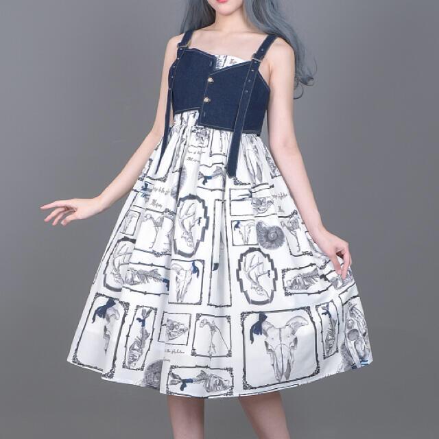 Angelic Pretty(アンジェリックプリティー)のゴシックロリータ やみかわ  量産系 地雷系 骸骨博物館 白ジャンスカセット レディースのワンピース(ひざ丈ワンピース)の商品写真