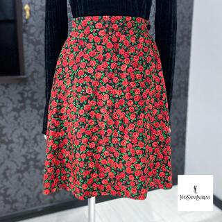 サンローラン(Saint Laurent)のイヴサンローラン ◇ 日本製 薔薇柄 バラ柄 フレアスカート (ひざ丈スカート)