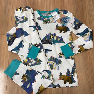 エイチアンドエム(H&M)の新品タグ付き120〜130薄手長袖パジャマ綿100% 動物柄⑤(パジャマ)