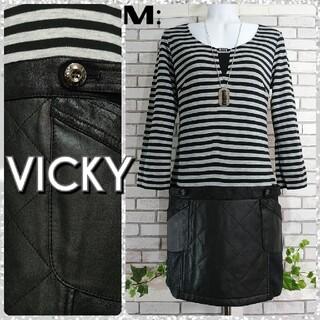 ビッキー(VICKY)のM:ワンピース/ビッキー★美品★ブラック×グレー(ひざ丈ワンピース)