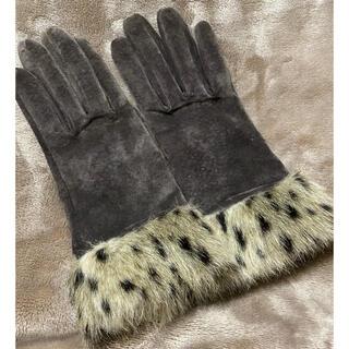 コムサイズム(COMME CA ISM)のコムサ スエード  本革 手袋 グローブ レオパード  ファー(手袋)