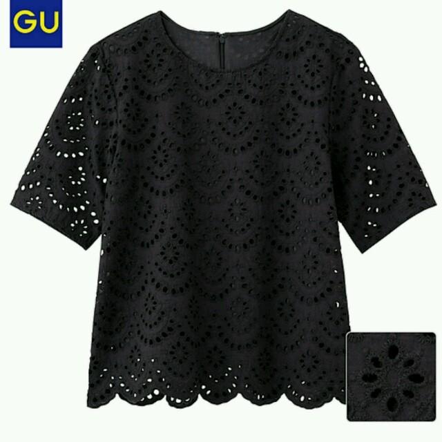 GU(ジーユー)のジーユー レースTブラウス ブラック新品 レディースのトップス(シャツ/ブラウス(半袖/袖なし))の商品写真
