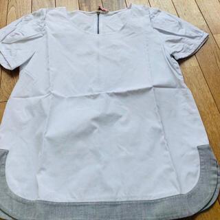 サカヨリ(sakayori)のsakayori.サカヨリ 白 パリッとした半袖デザインカットソーツィード異素材(シャツ/ブラウス(半袖/袖なし))