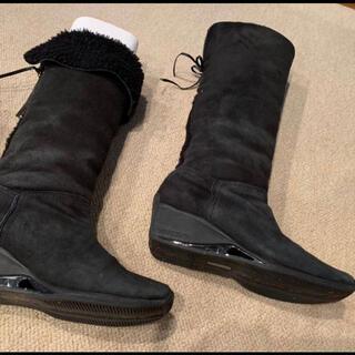 ニューバランス(New Balance)のaravonアラヴォンニューバランス本革スエードムートンロングブーツ黒2WAY(ブーツ)