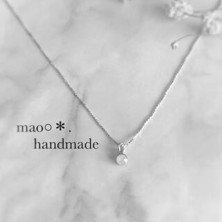極細チェーン ホワイトオパールネックレス ハンドメイドネックレス(ネックレス)