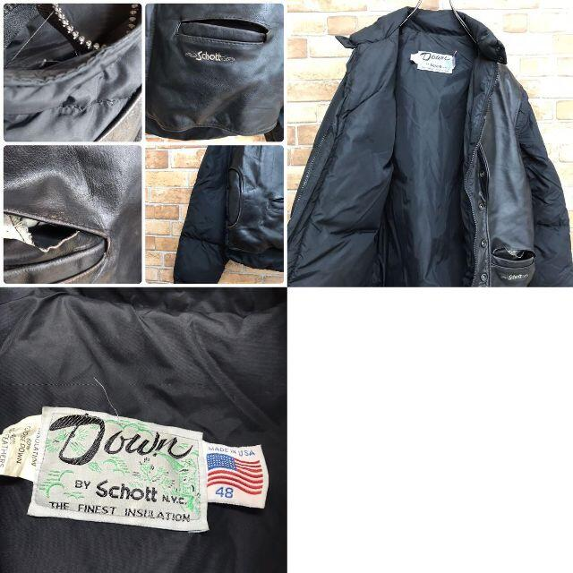 schott(ショット)の【ショット】ダウンジャケット レザー 2way ベスト ブラック 古着男子 メンズのジャケット/アウター(ダウンジャケット)の商品写真