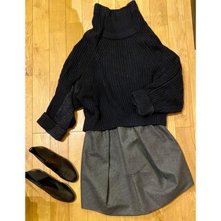 カルヴェン(CARVEN)の美品◯CARVEN○ウール変形スカート グレー(ひざ丈スカート)