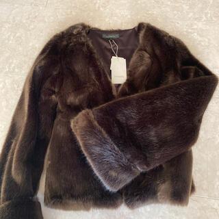 rienda - Sフレアスリーブ Faux Fur ショートコート