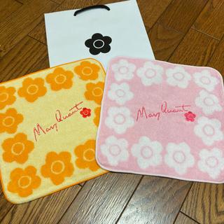 マリークワント(MARY QUANT)の新品 マリークワント タオルハンカチ ピンクとオレンジ(ハンカチ)