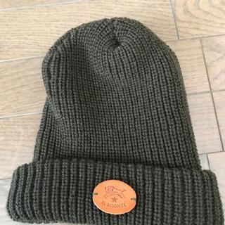イルビゾンテ(IL BISONTE)の新品同様 イルビゾンテ ニットキャップ 帽子 オリーブ ダークグリーン(ニット帽/ビーニー)