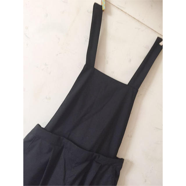 しまむら ♡ 黒サロペット レディースのパンツ(サロペット/オーバーオール)の商品写真