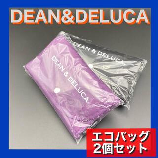 ディーンアンドデルーカ(DEAN & DELUCA)のDEAN&DELUCA 折り畳み エコバッグ 紫+黒の2個セット D&D(エコバッグ)