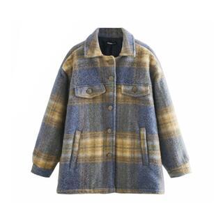 ザラ(ZARA)の❄️冬新作☃️3203◆チェック柄 オーバーサイズ シャツ ジャケット コート(ニットコート)