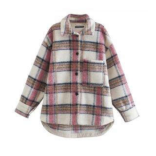 ザラ(ZARA)の❄️冬新作☃️3204◆チェック柄 オーバーサイズ シャツ ジャケット コート(ニットコート)