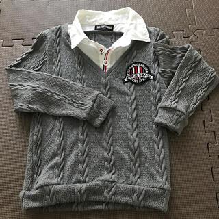 バツ(BA-TSU)の140 薄手 ポリエステル99%  グレー セーター(Tシャツ/カットソー)