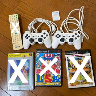 プレイステーション(PlayStation)のPS2 コントローラー デュアルショック ホワイト 2台 メモリーカード(その他)