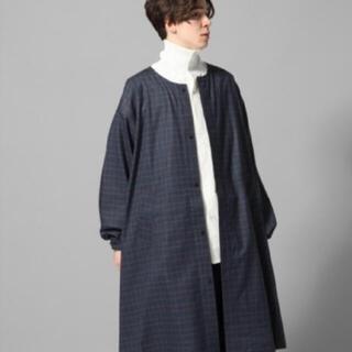 ハレ(HARE)の美品 HARE BIGグレンチェックノーカラーシャツ(ステンカラーコート)