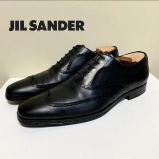 ジルサンダー(Jil Sander)の☆良品 ジルサンダー 内羽根 ウイングチップ レザー シューズ 黒 革靴(ドレス/ビジネス)