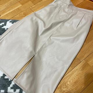 ザラ(ZARA)のレザー風 タイトスカート スリット ベージュ(ひざ丈スカート)