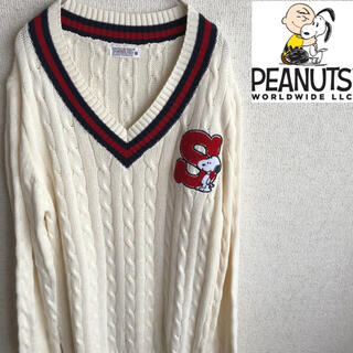 ピーナッツ(PEANUTS)の90s PEANUTS SNOOPY コットン ケーブル チルデン セーター(ニット/セーター)