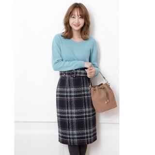 ジャスグリッティー(JUSGLITTY)の美品ジャスグリッティー☆ロービングチェックタイトスカート(ひざ丈スカート)