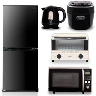 アイリスオーヤマ(アイリスオーヤマ)の【5点セット買い】アイリスオーヤマ 冷蔵庫142L ブラック + 炊飯器 3合 (冷蔵庫)